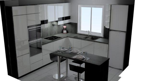Projet 3D cuisine blanche – 5