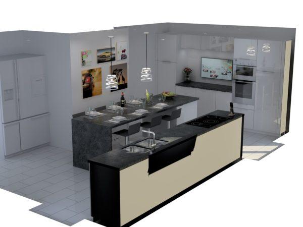 Projet 3D cuisine ilot central – 7
