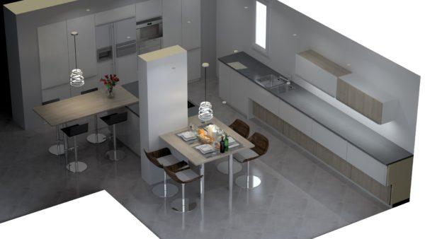 Projet 3D cuisine ilot sur mesure – 8