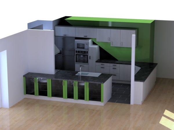 Vue 3D cuisine couleur – 16